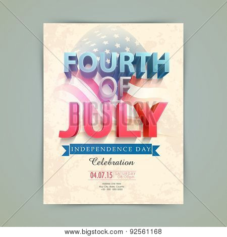 3D text Fourth of July, in American national flag colors for Independence Day celebration, can be used as template, banner or flyer design.