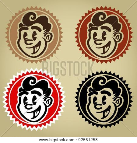 Vintage Retro Character Face Seals