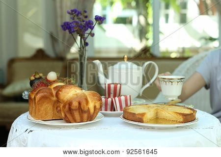 Tea Time With Sweet Bread And Muffin, Apple Tart And Fruit