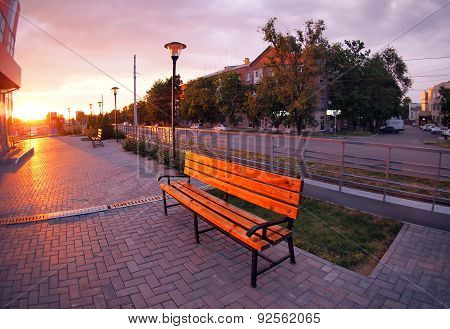 European Urban Cityscape With Benches And Lanterns