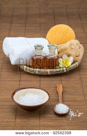 Spa Bath, Salt Bowl Spoon, Towel Sponge Essential Oil And Flower For Spa Health
