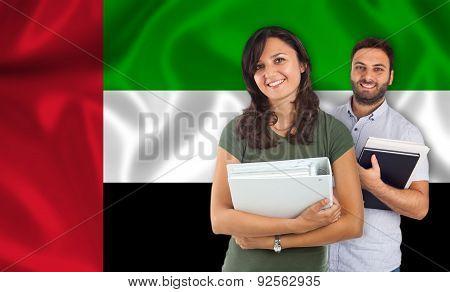 Couple Of Students Over United Arab Emirates Flag