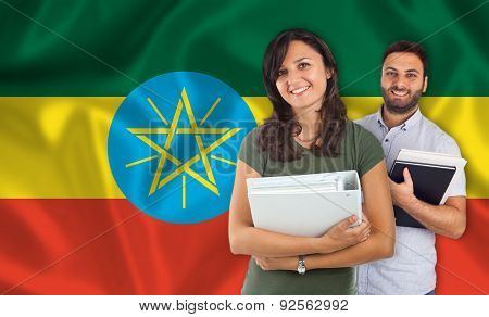 Couple Of Students Over Ethiopian Flag