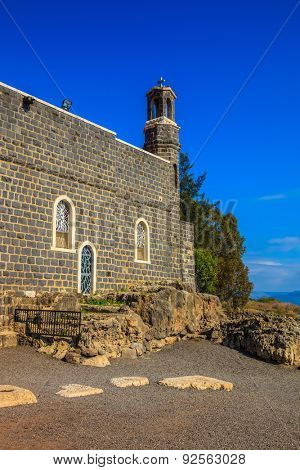The Church of the Primacy - Tabgha. Jesus then fed with bread and fish hungry people.  The Holy Church was built on the Sea Gennesaret