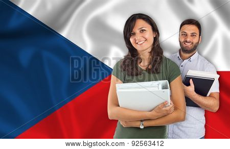 Couple Of Students Over Czech Slovak Flag