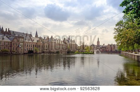 Famous Parliament Building Complex Binnenhof In The Hague.
