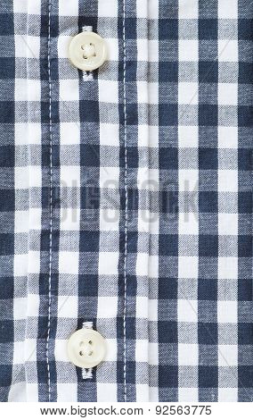 Button and check shirt fabric