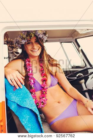 Beach Lifestyle, Beautiful Young Surfer Girl Having Fun Hanging Out in Vintage Surf Van in Hawaii.