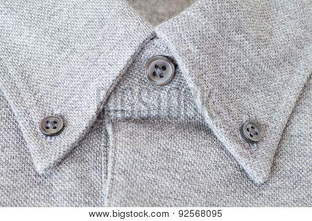 Close - up Grey cotton shirt collar