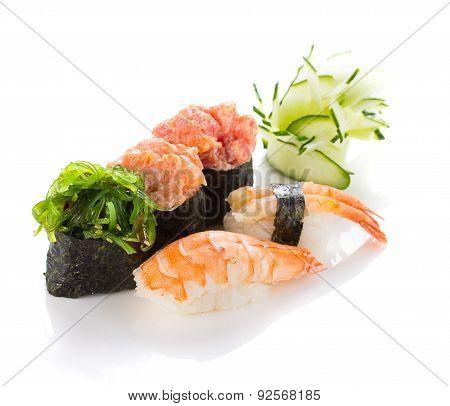 Sushi Nigiri And Gunkan Isolated On White Background