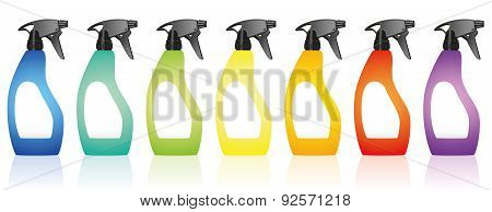 Spray Bottles Blank Colors Rainbow