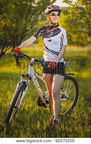 cute sportswoman on bicycle. Active Leisure