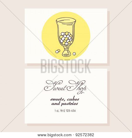 Hand drawn candy bar business card template