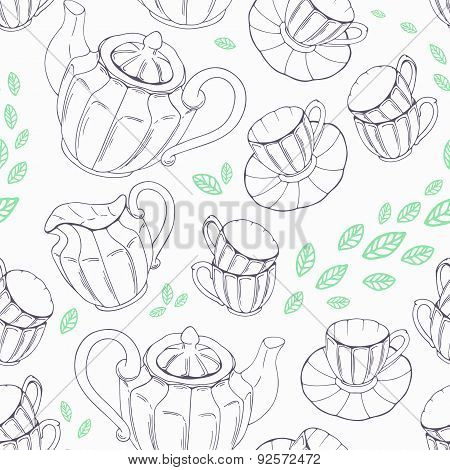 Outline seamless pattern with hand drawn tea porcelain service and leaves.