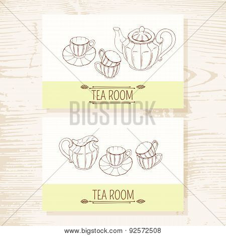 Business card set with hand drawn tea service. Teatime background