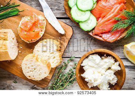 Preparation Smoked Salmon Sandwiches