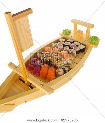 Apanese Cuisine -  Sushi Ship Isolated On White Background