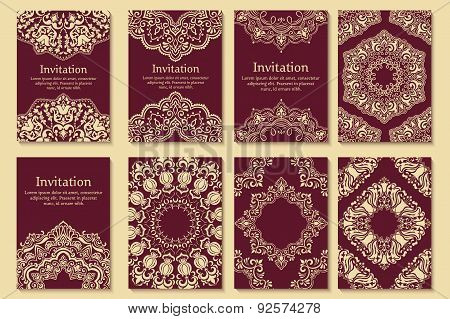 Set of invitations, cards with ethnic henna elements. Arabesque style design. Business cards.