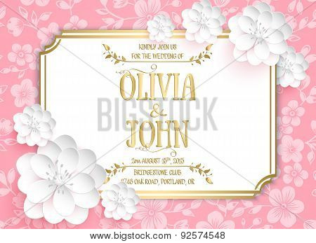 Wedding invitation card. Vector invitation card with sakura flower seamless pattern background and e