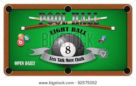 Billiard poster. Pool hall - Eight ball