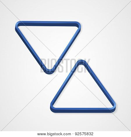 Blue billiard triangle on a white background
