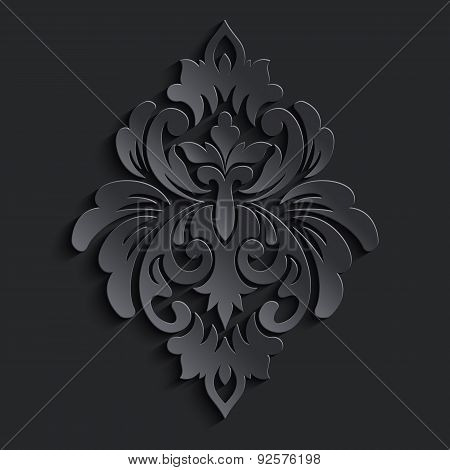 Vector damask volumetric element.  Dark volumetric pattern.