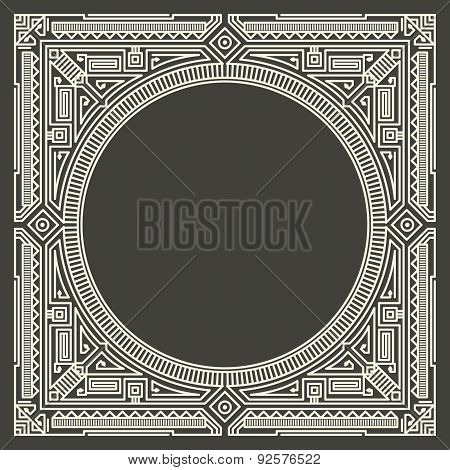 Vector floral and geometric monogram logo on dark gray background. Monogram design element.