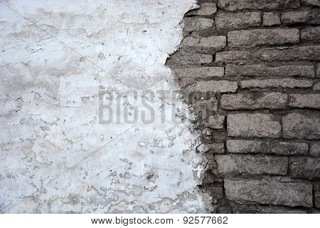 Aged Brick Wall Background With The Stucco
