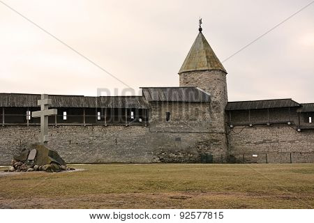 Pskov Kremlin- Ancient Dovmontov Tower. Pskov City, Russia