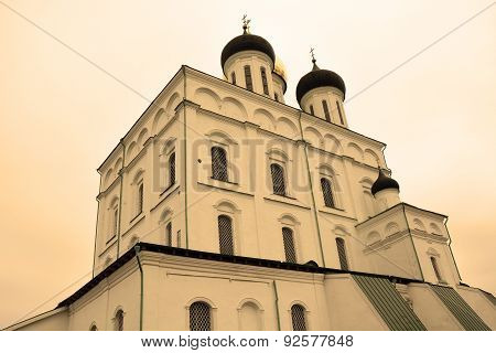 Famous Trinity Cathedral In Pskov, Russia In Sepia Tone