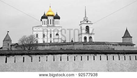 Pskov Kremlin With Famous Trinity Cathedral In Black And White Tone