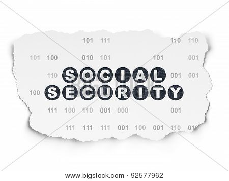 Protection concept: Social Security on Torn Paper background