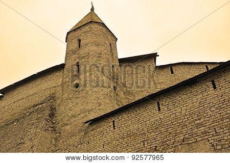 Pskov Kremlin In Sepia Tone- Dovmontov Tower