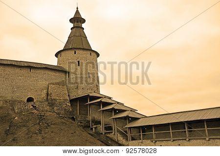 Russia- Pskov Kremlin At The Sepia Tone