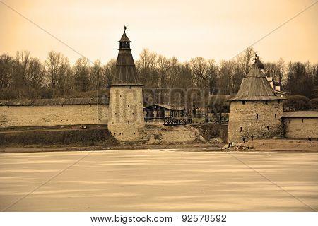 Pskov Krom From Velikaya River, Sepia Background