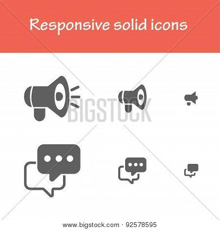 Responsive Solid Feedback Megaphone Icons