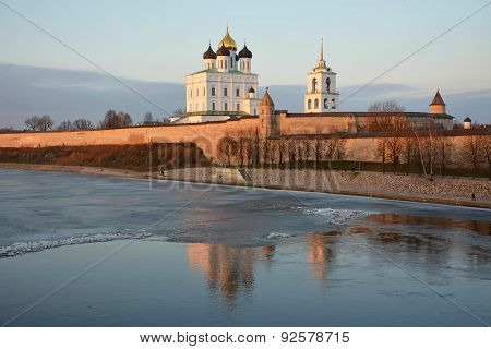 Pskov Krom At Hte Sunset. Old Russian Architecture. View At Spring Season From River Velikaya