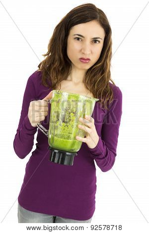 Green Smoothie Woman  Looking Disgusted