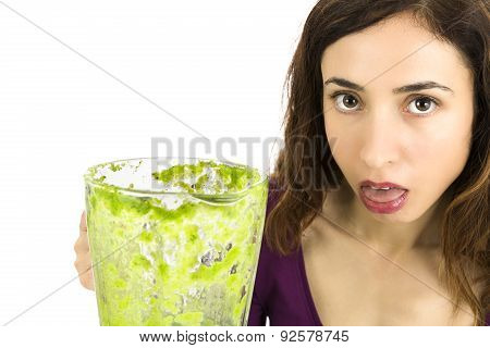 Green Smoothie Woman Unhappy, Close Up