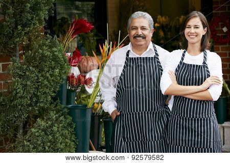 Portrait Of Male And Female Florist Outside Shop