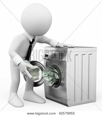 3D White People. Money Laundering Concept. Business Metaphor