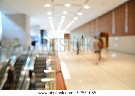 Blur Or Defocus Background Of Modern Building With Escalator.