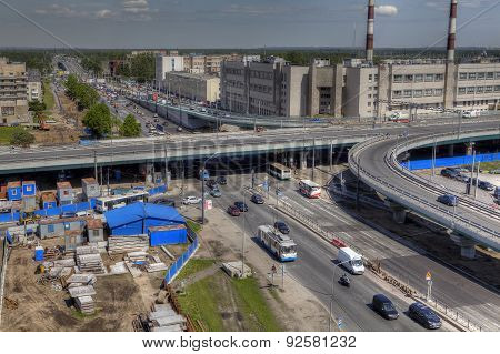 Top View Of Unfinished Construction Viaduct Automotive Interchange, Russia, Saint-petersburg.