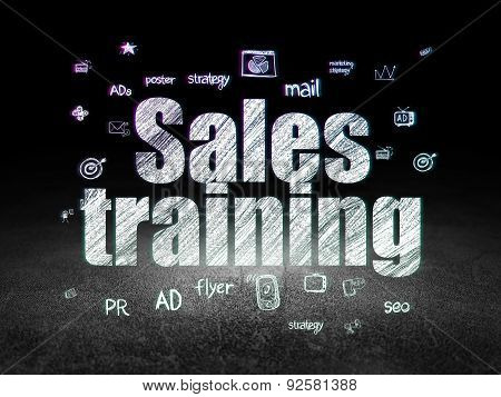 Advertising concept: Sales Training in grunge dark room