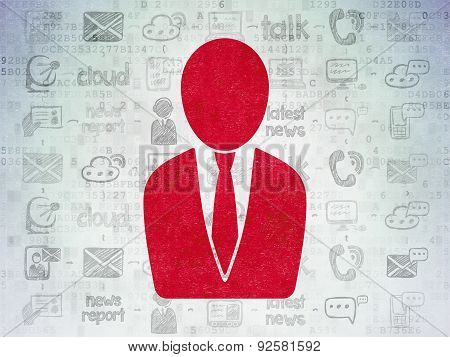 News concept: Business Man on Digital Paper background