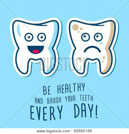Healthy And Ill Teeth Illustration