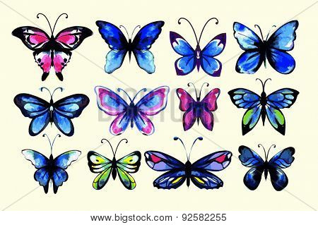 Watercolor butterflies set. Handdrawn. Isolated.  Cold colors.