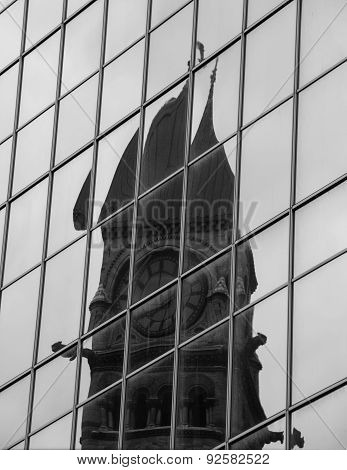 Reflection of Old City Hall in Modern Glass Wall