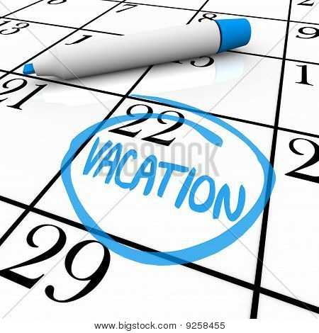 Calendar - Vacation Day Circled