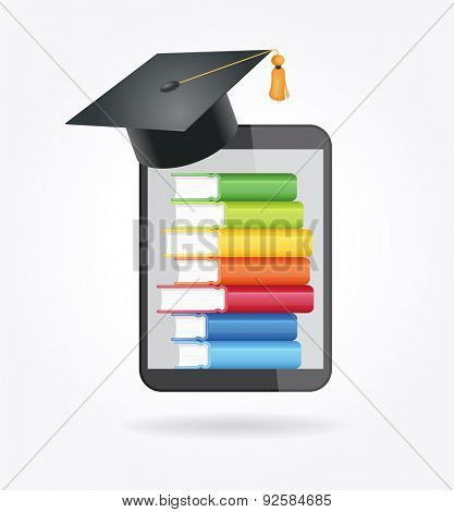 E-book reader with books and academic cap. The concept of e-learning. File is saved in AI10 EPS version. This illustration contains a transparency